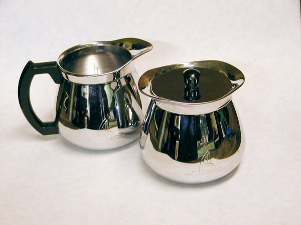 Vintage 1950s Style Stainless Cream and Sugar Set - Retro - Art Deco - idugitup