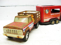 Vintage Nylint Pressed Steel Farm Truck and Horse Trailer - idugitup