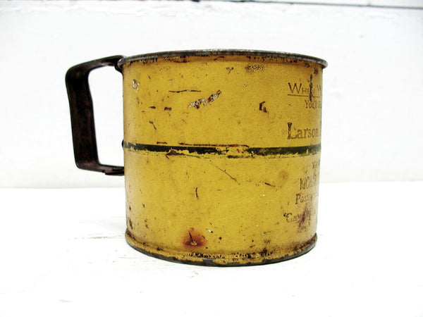 Vintage Tin Kitchen Advertising Sifter - Mustard Color - Perfectly Primitive - idugitup
