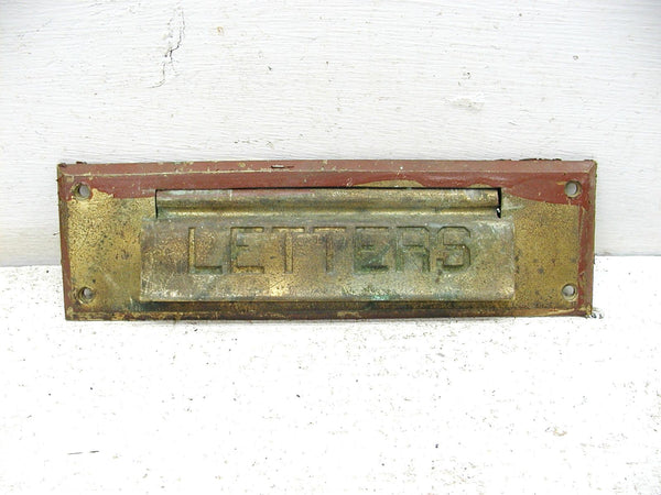 Vintage Mail Slot - Solid Brass Letter Slot - Salvaged Hardware - idugitup