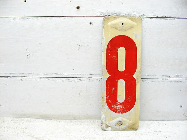 Vintage 13 1/4 Inch Gas Metal Station Sign / Number Eight Price Sign - Free Shipping - idugitup