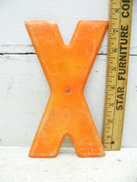 "Vintage Metal Letter X Sign 7 1/2"" Tin Sign Marquee Orange Chippy Paint - idugitup"