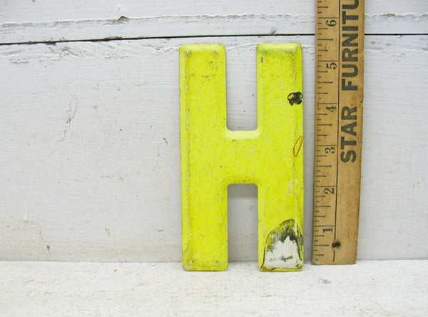 "Vintage Metal Letter H Sign 5 1/2"" Chartreuse Tin Sign Marquee - Free Ship - idugitup"