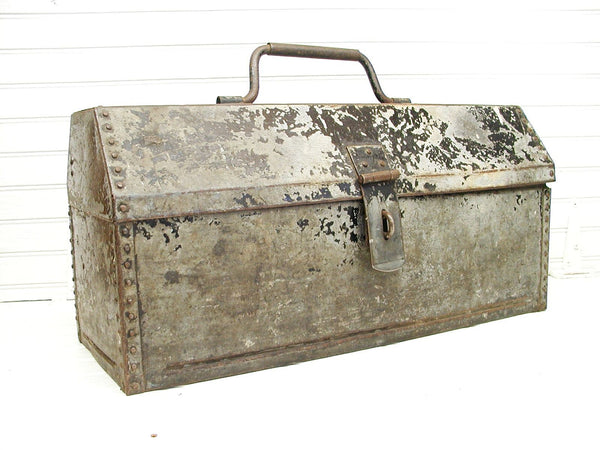 Vintage Industrial Toolbox Riveted Edges - Unique Industrial Decor - Heavy Gauge Steel - idugitup