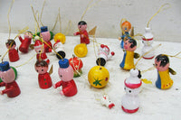 Vintage Lot Wooden Ornaments - Free Shipping 20+ pieces - Retro Christmas - idugitup