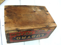 Vintage Lustro Stove Polish Box - Primitive Wood Box - Rare Unique Advertising Piece - idugitup