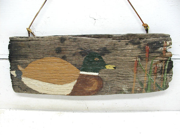 Folk Art Duck Painting - Old Barn Wood - Unique Cabin Decor - Duck Hunter Gift - idugitup