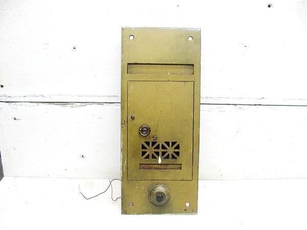 Vintage Hotel Mail Box  - Brass Flush / Wall Mount  Mailbox - Doorbell Included - idugitup