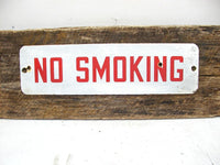 Vintage Porcelain No Smoking Sign - Bar Restaurant Decor - Metal Enamel Sign 18 Inches - idugitup