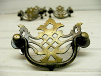 4 Vintage Batwing Chippendale Style Brass Plated Drawer Pulls - Free Shipping - idugitup