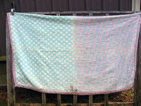 "Vintage Hand Stitched Quilt - Shabby Farmhouse Chic  As is  84"" x 70"" - idugitup"