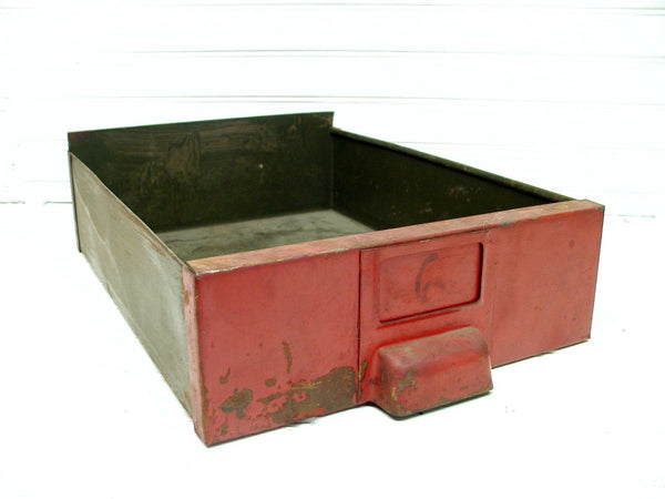 Industrial Metal Drawer - Old Red Paint - Project Piece - Industrial Display - idugitup