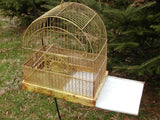Vintage Bird Cage - Shabby Chippy Mustard Yellow Paint - Crown Birdcage - idugitup