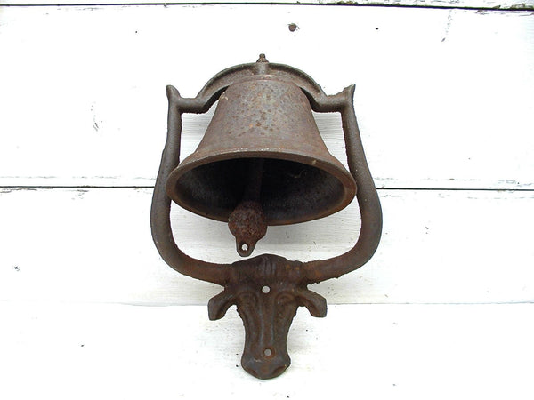 Vintage Iron Porch Bell - Bull Bell - Cast Iron Cow Bell - Farmhouse Decor - idugitup