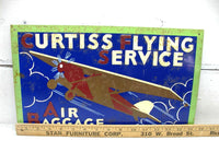 Curtiss Flying Airplane Sign - Embossed Metal Sign  - Air Baggage Sign Rusty - idugitup