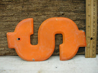 "Vintage Metal Dollar Sign 7 1/2"" Large Thick Tin Sign Marquee Orange Chippy Paint - idugitup"