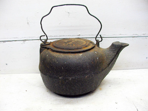 Cast Iron Kettle - Tea Pot - #7 Flower Lid - Old Cast Iron - No Holes - Perfectly Primitive - idugitup