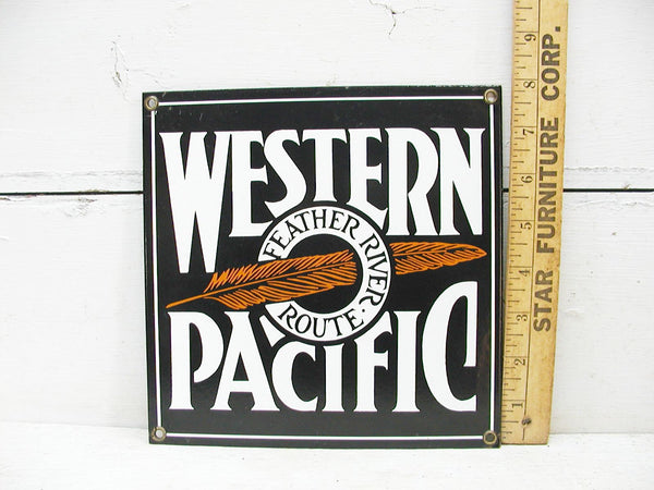 Western Pacific Railroad Sign - Porcelain Enamel Sign - Enamel Sign - Metal Sign for the Man Cave - - idugitup