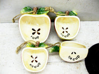 Vintage Ceramic Measuring Cups  - Apple Collector - Apple Theme Kitchen - idugitup