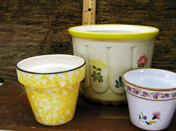 Pottery Planters - All Signed - Set of 3 - Yellow Theme - Stangl - Leart - Sado - idugitup