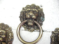 Set of 4 Lions Head Ring Pull - Vintage Brass Hardware - Drawer or Cabinet - idugitup