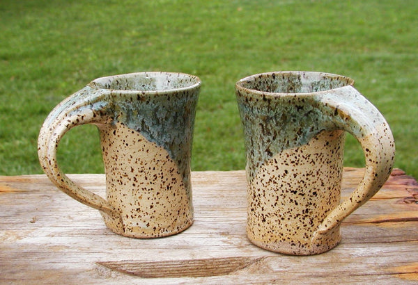 Glazed Pottery Mugs set of 2 - Beach Colors - Rustic Beach Decor - idugitup