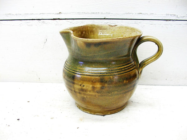 Jugtown Ware Pottery - Glazed Pottery Pitcher - in Earth Tones - Signed - Likely Owens - idugitup