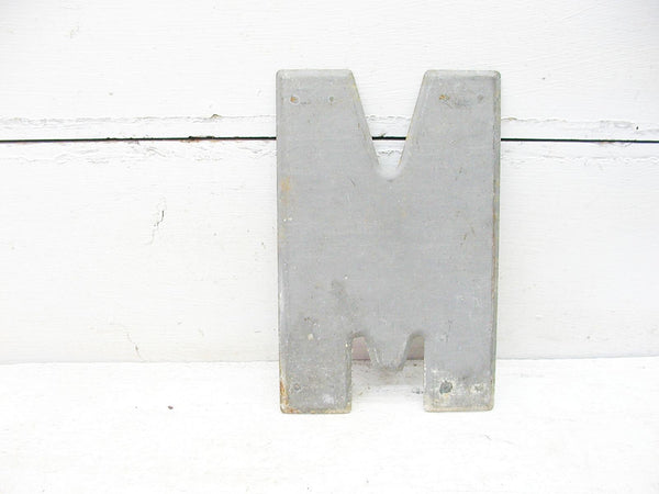 "Vintage Metal Letter M Letter Sign 7 1/2"" Large Thick Tin Sign Marquee - idugitup"