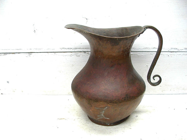 Primitive Copper Pitcher - Hammered Copper - Nice Patina - idugitup