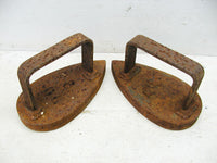 Vintage Industrial Sad Iron Pair - Matched Set Irons Primitive Decor - Door Stops - idugitup