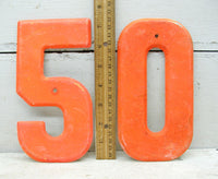 "Vintage Metal Number *50 Free Shipping* 7 1/2"" Large Thick Tin - Fiftieth Birthday - Matched Set - idugitup"