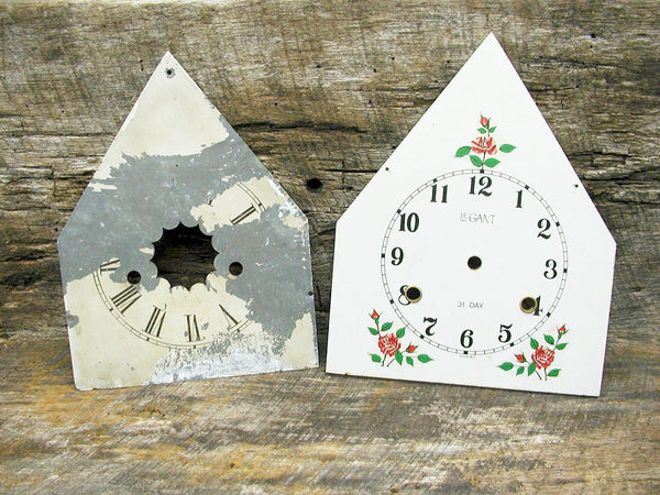 2 Vintage Cottage Clock Dial Faces  - Steeple Clock - DIY Cottage Decor - idugitup