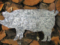 Rough Cut Tin Pig - Wall Decor - Recycled Tin - One of a Kind Primitive Pig - idugitup