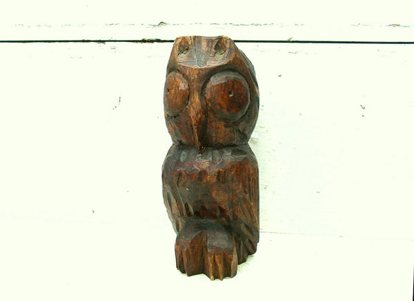 Folk Art  Hand Carved Owl - Wooden Owl Figurine - Owl Collector Gift - idugitup