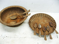 Vintage Collection Rusty Flatware - Weathered Spoons Bowls - Props - idugitup