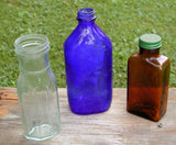 Vintage Colored Bottles - Old Colored Glass Jars - Set of 3 - idugitup