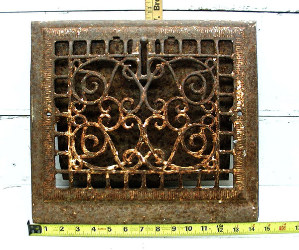 Antique Grate Ornate - Rusty Chippy Heat Register - Architectural Salvage - idugitup