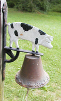 Cast Iron Pig Bell - Large Porch Bell -Farmhouse Decor - Cast Iron Bell - idugitup