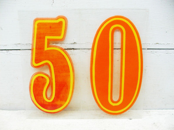 "Vintage Number 50 / Fifty Sign 7 3/4""  Orange Circus Font Fiftieth Birthday - idugitup"