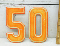 "Vintage Metal Number 50 / Fifty Sign 5 1/2"" Fiftieth Birthday - Free Shipping - idugitup"