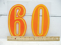 "Vintage Number 60 / Sixty Sign - 7 3/4"" Large  Orange Sixtieth Birthday - Free Ship - idugitup"