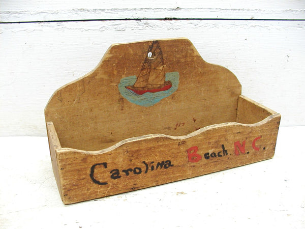 Vintage Wooden Wall Pocket - Wood Candle Box - Souvenir - Folk Art - Carolina Beach - Wilmington - idugitup