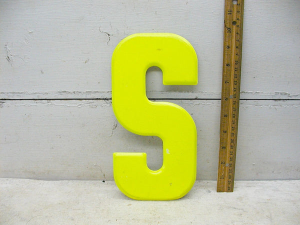 "Vintage Metal Letter S  -  10"" Large Tin Sign Marquee Chartreuse NOS - idugitup"