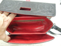 Vintage Leather Purse - Handbag - Pocketbook - Hand Tooled - Striking Red Interior - Gorgeous - idugitup