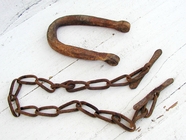 Vintage Farm Tack Hardware Chain Plow - Harness Pieces - Forged Rusty Iron - idugitup