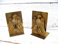 Vintage Brass Eagle Bookends - Hampton Virginia Marked - Hand Made Federal - idugitup
