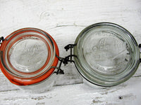 Vintage French Canning Jars - La Parfait Pair - Country Farmhouse Decor - idugitup