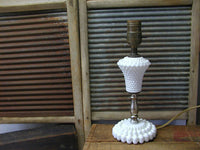 Vintage Hobnail - Milk Glass Table Lamp - Petite - Farmhouse Decor - idugitup