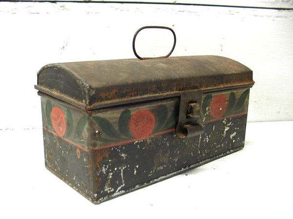 Vintage Tin Document Box - Spice Tin - Tea Tin - Folk Art Painted - Perfectly Primitive - idugitup