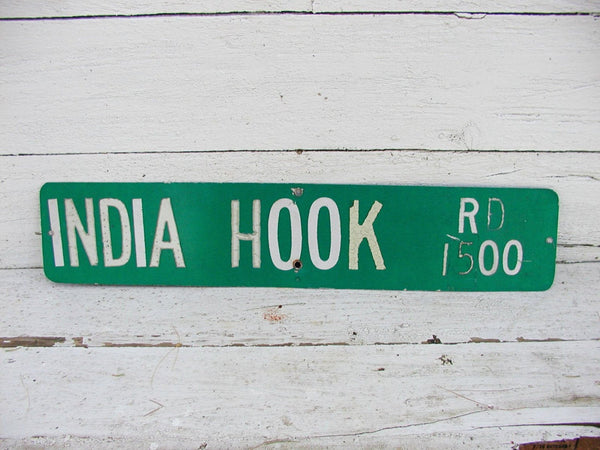Vintage Street Sign - India Hook Rd. - Tega Cay SC -Restaurant Man Cave Metal Sign - idugitup